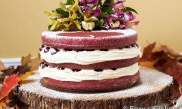 Red Velvet Naked Cake with Drunken Cherries for Our 5th Wedding Anniversary
