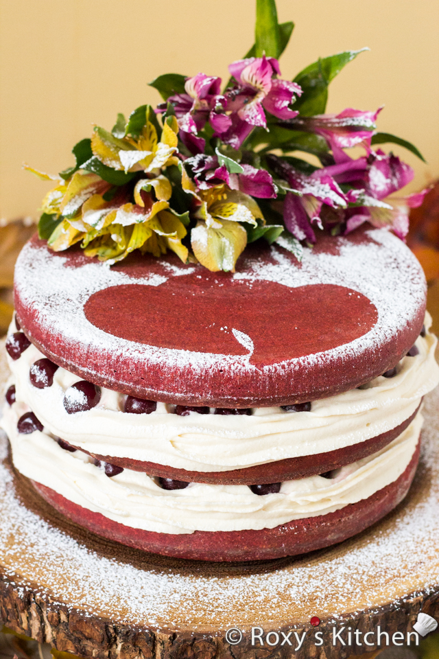 Red Velvet Naked Cake with Drunken Cherries for Our 5th Wedding Anniversary | Roxy's Kitchen
