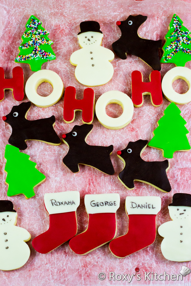 Christmas Cookies Covered with Modeling Chocolate - HO HO HO, snowmen, reindeer, Christmas trees, stockings & presents | Roxy's Kitchen