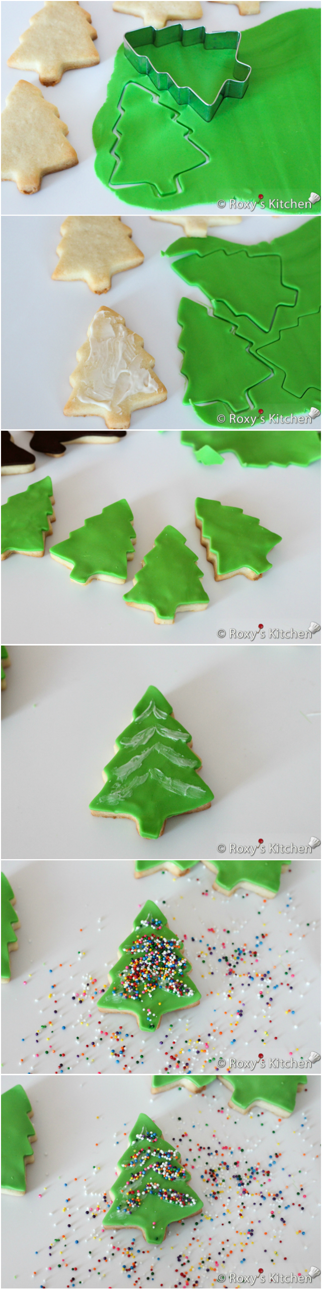 Christmas Tree Cookies --- Christmas Sugar Cookies Covered with Modeling Chocolate - HO HO HO, snowmen, reindeer, Christmas trees, stockings & presents | Roxy's Kitchen