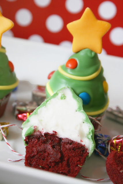 Red Velvet Christmas Tree Cupcakes