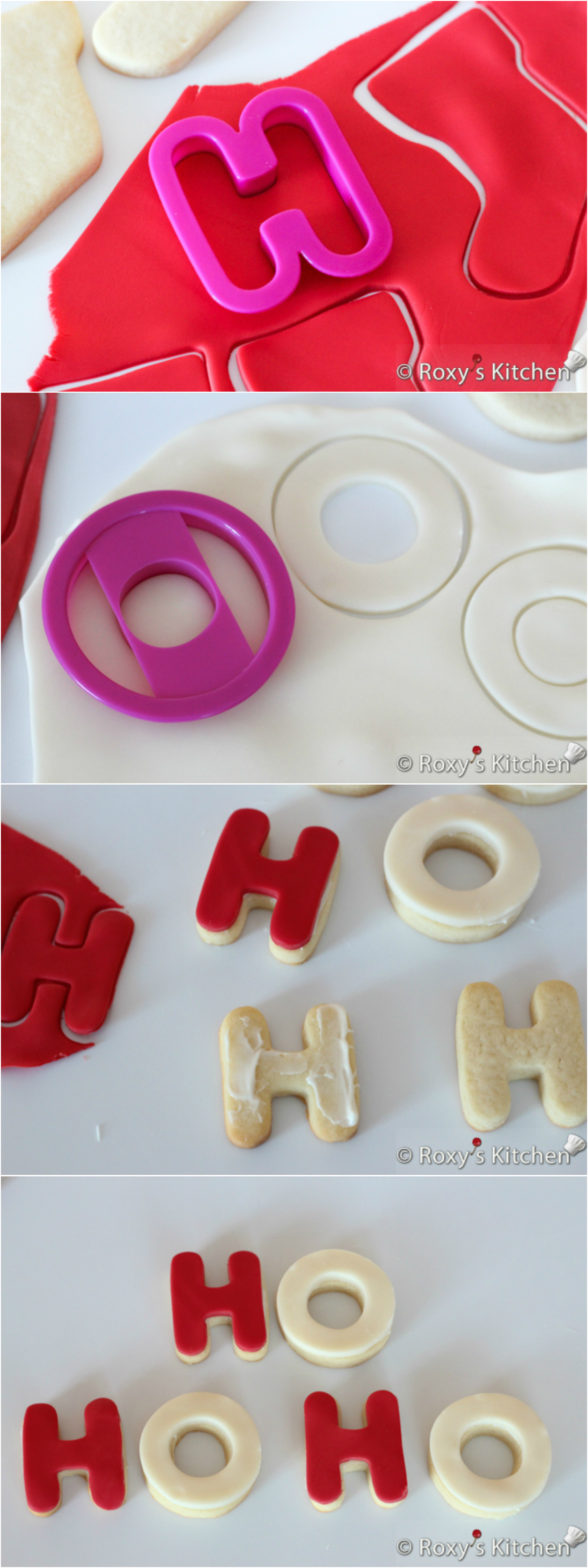 HO HO HO Christmas Cookies --- Christmas Sugar Cookies Covered with Modeling Chocolate - HO HO HO, snowmen, reindeer, Christmas trees, stockings & presents | Roxy's Kitchen