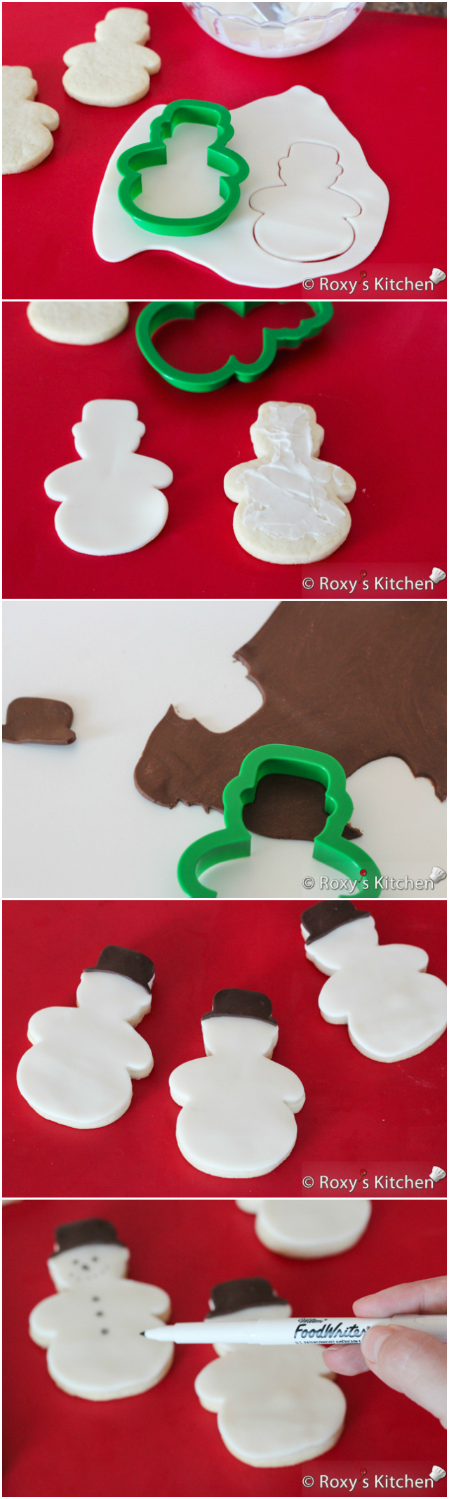 Christmas Sugar Cookies Covered with Modeling Chocolate - HO HO HO, snowmen, reindeer, Christmas trees, stockings & presents | Roxy's Kitchen
