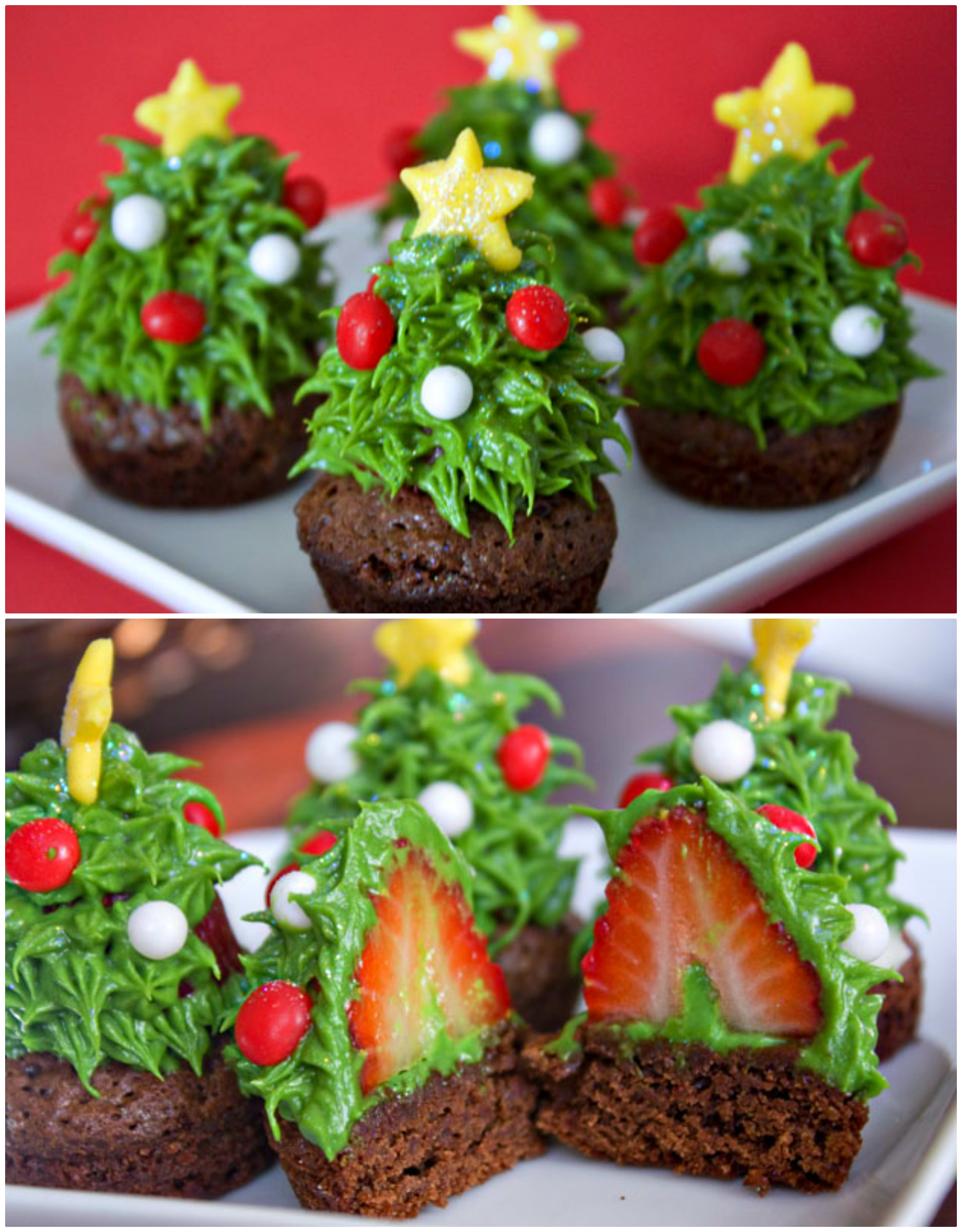 Christmas Tree Strawberry Cupcakes