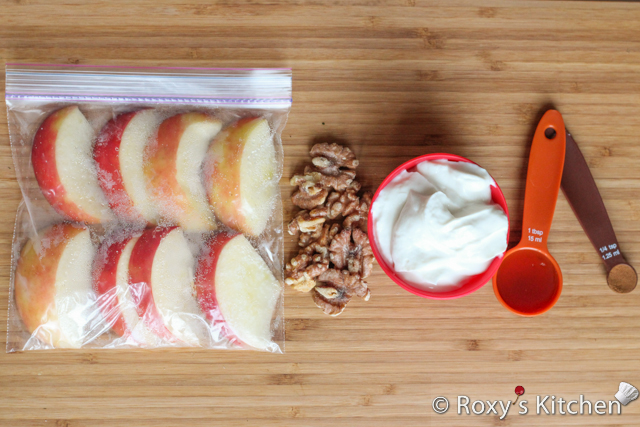 Apple Cinnamon Smoothie with Toasted Walnuts - Apples, walnuts, Greek yogurt, maple syrup, cinnamon