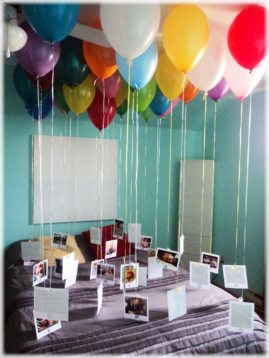 30 Helium Filled Balloons with a Photo Attached for Each Year of the Person's Life