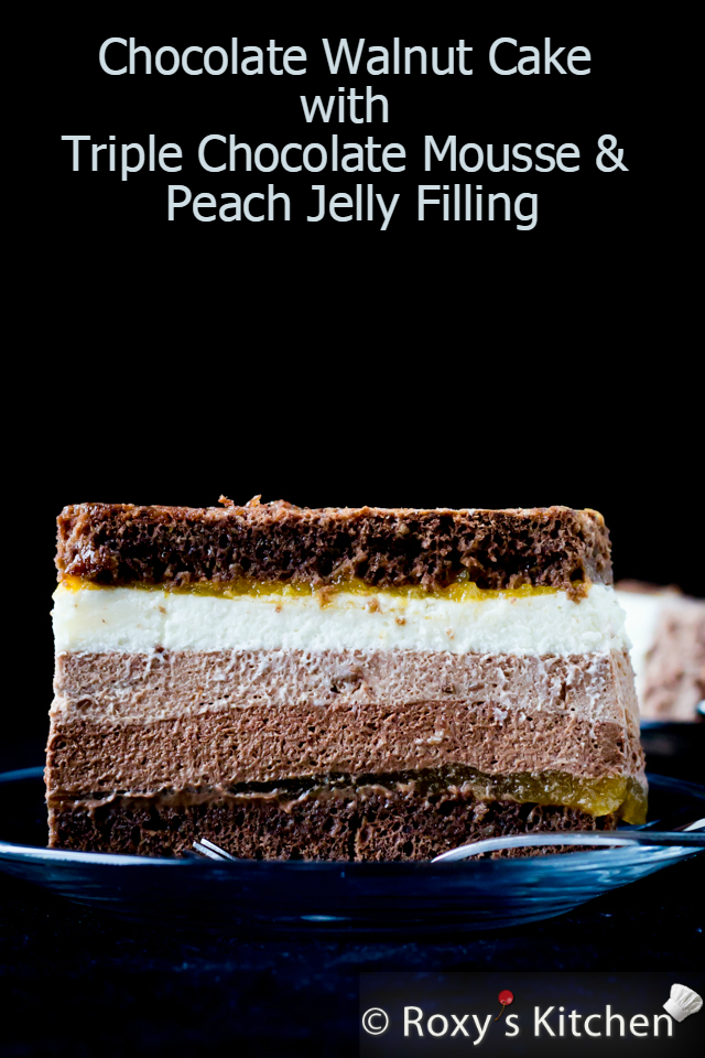 Tuxedo Cake with Triple Chocolate & Peach Jelly Filling | Roxy's Kitchen