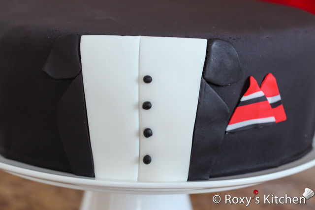 30th Birthday Tuxedo Cake With Striped Bow Tie Tutorial