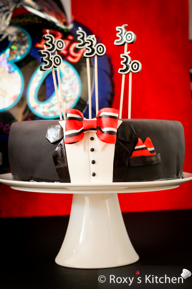 30th Birthday Tuxedo Cake with Striped Bow Tie Tutorial Triple